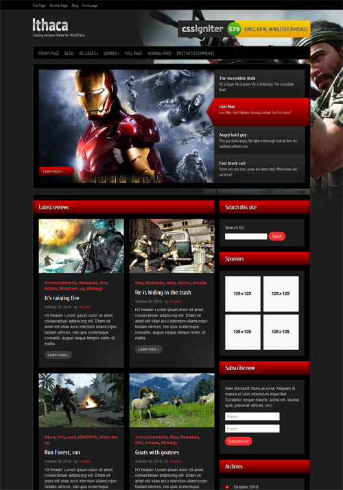 Ithaca Gaming WordPress Theme