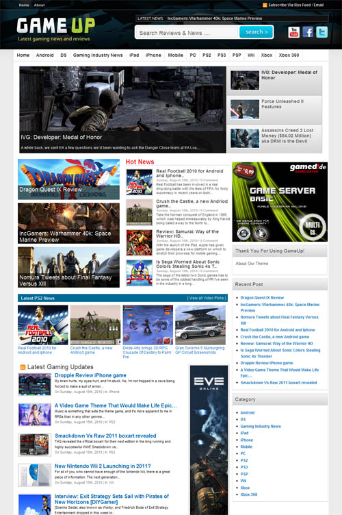 Game Up WordPress Theme