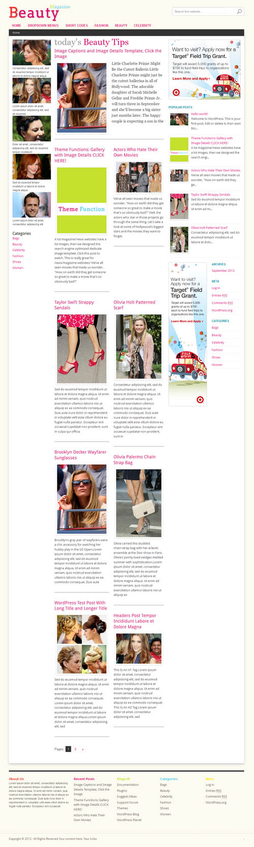 Beauty Magazine WordPress Theme